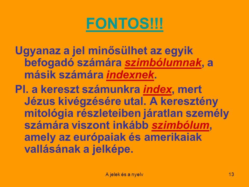 FONTOS!!! Ugyanaz a jel minősülhet az egyik befogadó számára szimbólumnak, a másik számára indexnek.
