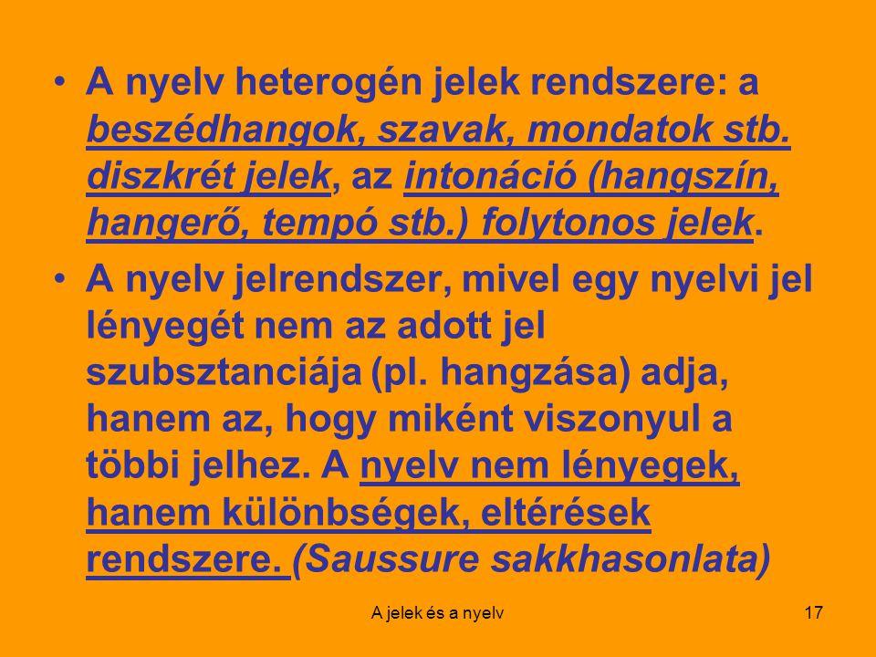A nyelv heterogén jelek rendszere: a beszédhangok, szavak, mondatok stb. diszkrét jelek, az intonáció (hangszín, hangerő, tempó stb.) folytonos jelek.