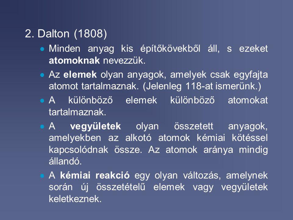 2017.04.04. 2. Dalton (1808) Minden anyag kis építőkövekből áll, s ezeket atomoknak nevezzük.