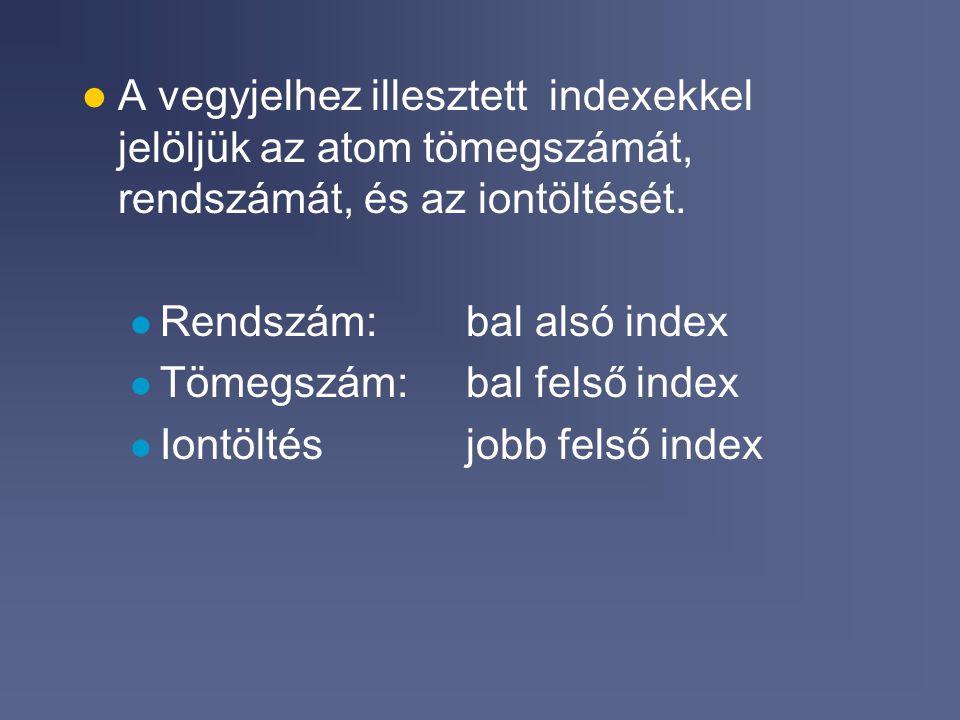 A vegyjelhez illesztett indexekkel jelöljük az atom tömegszámát, rendszámát, és az iontöltését.
