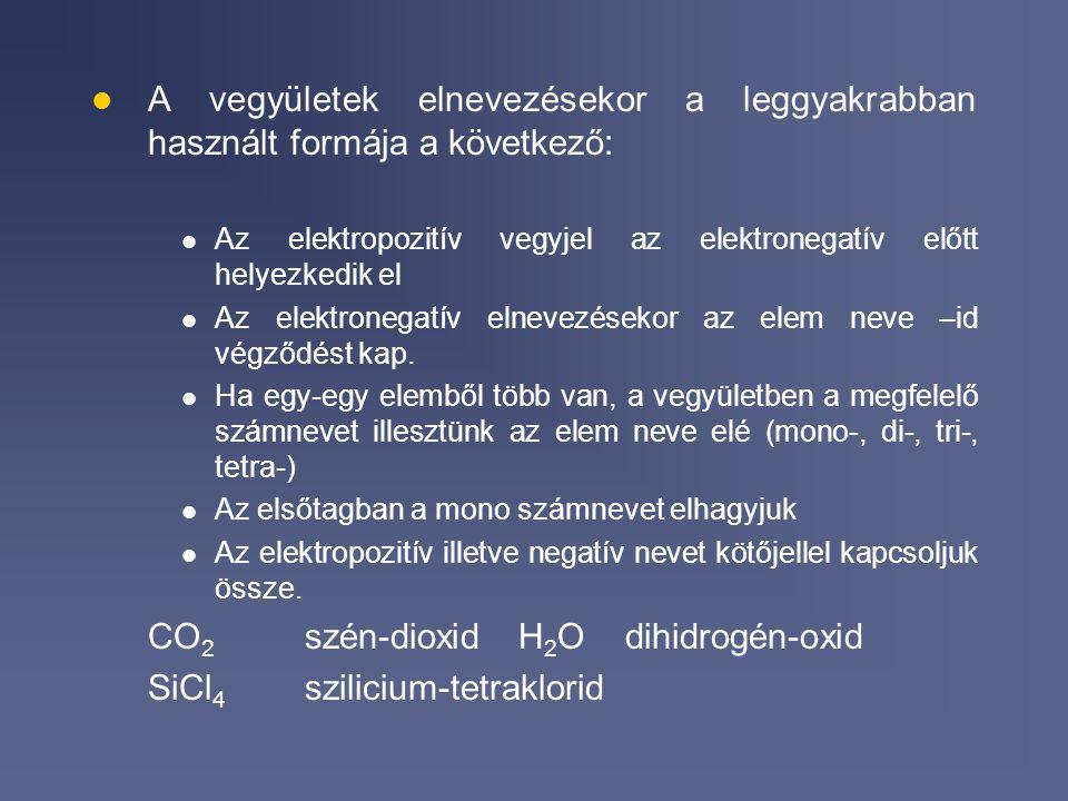 CO2 szén-dioxid H2O dihidrogén-oxid SiCl4 szilicium-tetraklorid
