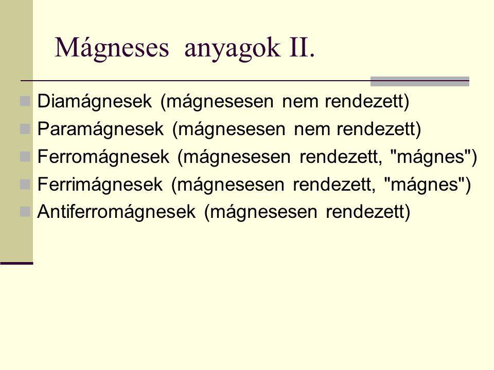 Mágneses anyagok II. Diamágnesek (mágnesesen nem rendezett)