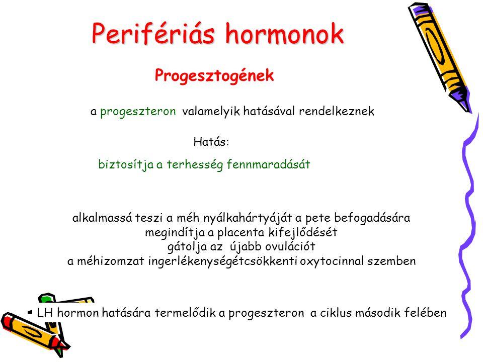 Perifériás hormonok Progesztogének