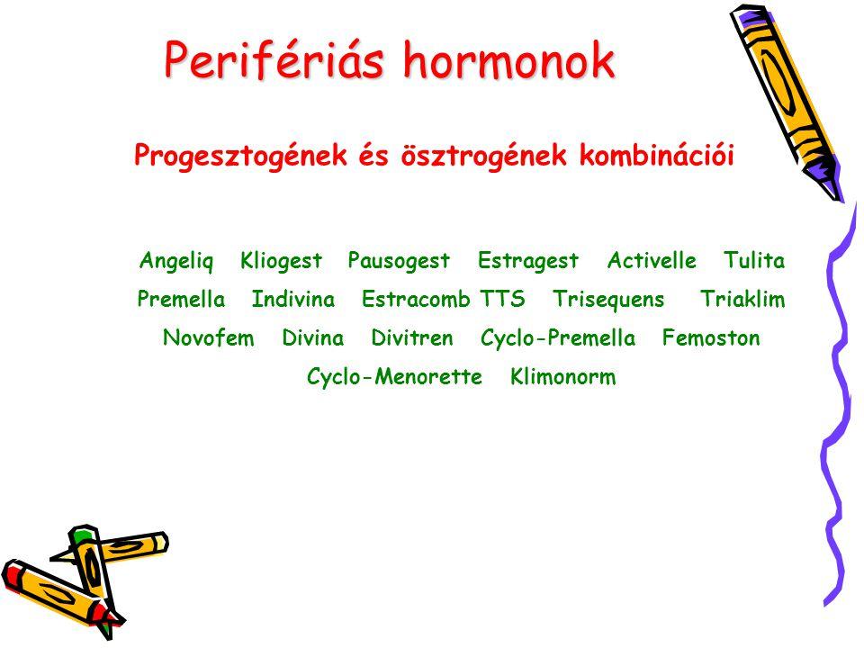 Perifériás hormonok Progesztogének és ösztrogének kombinációi