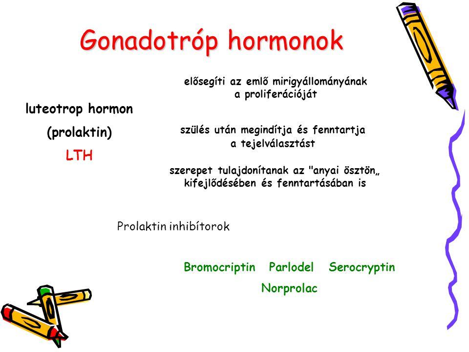 Gonadotróp hormonok luteotrop hormon (prolaktin) LTH