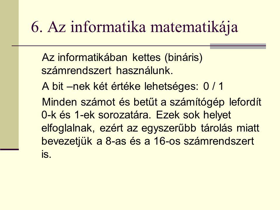 6. Az informatika matematikája