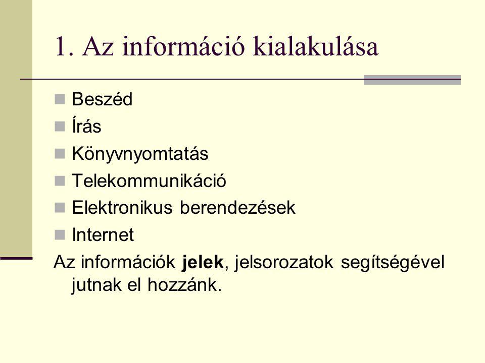 1. Az információ kialakulása