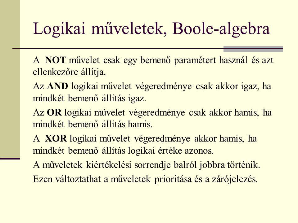 Logikai műveletek, Boole-algebra