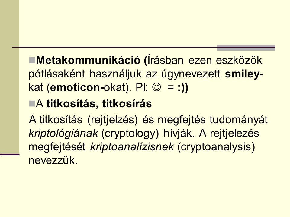 Metakommunikáció (Írásban ezen eszközök pótlásaként használjuk az úgynevezett smiley-kat (emoticon-okat). Pl:  = :))