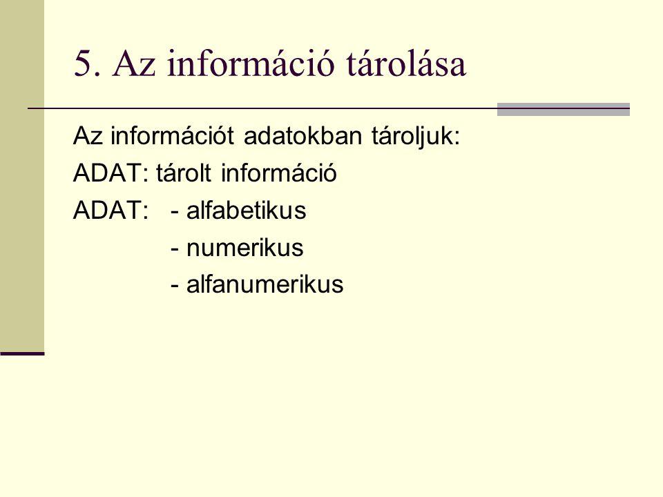 5. Az információ tárolása