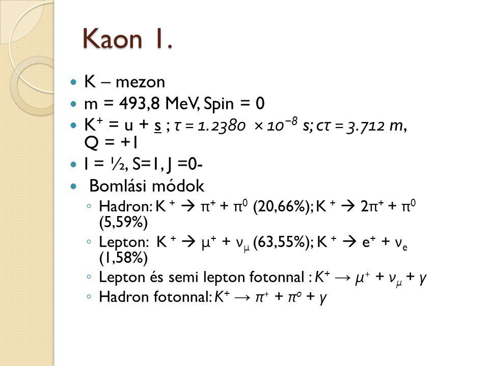 Kaon 1. K – mezon m = 493,8 MeV, Spin = 0