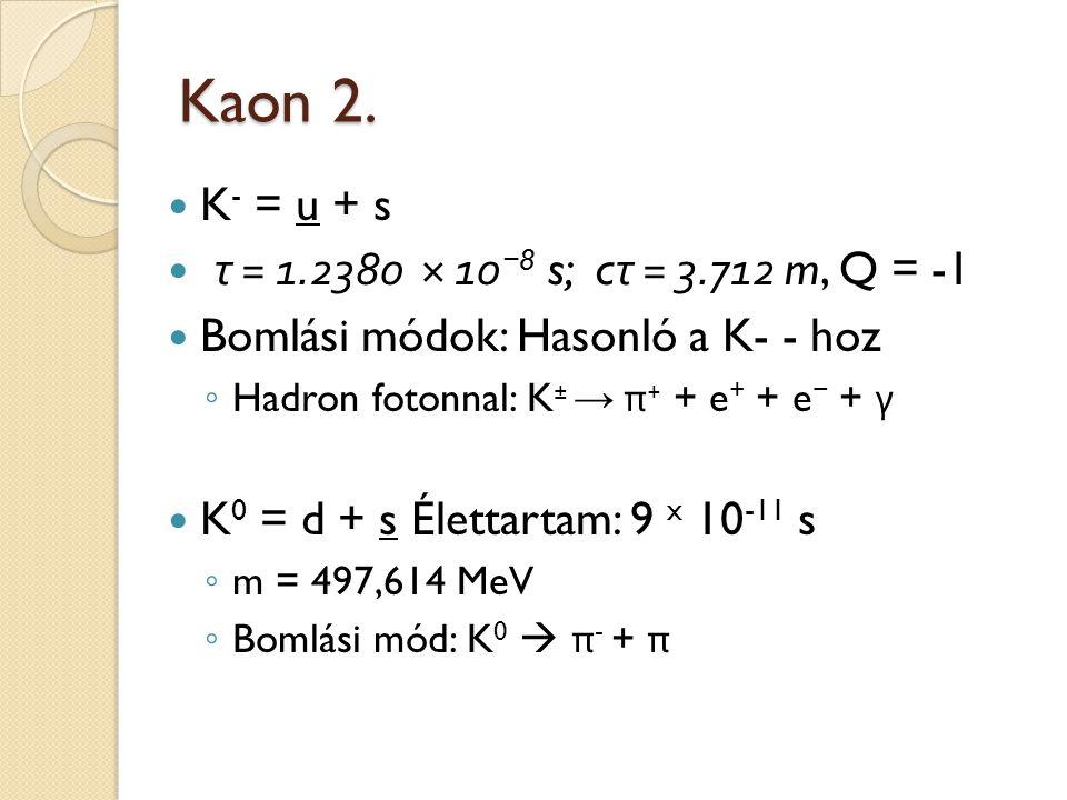 Kaon 2. K- = u + s τ = 1.2380 × 10−8 s; cτ = 3.712 m, Q = -1