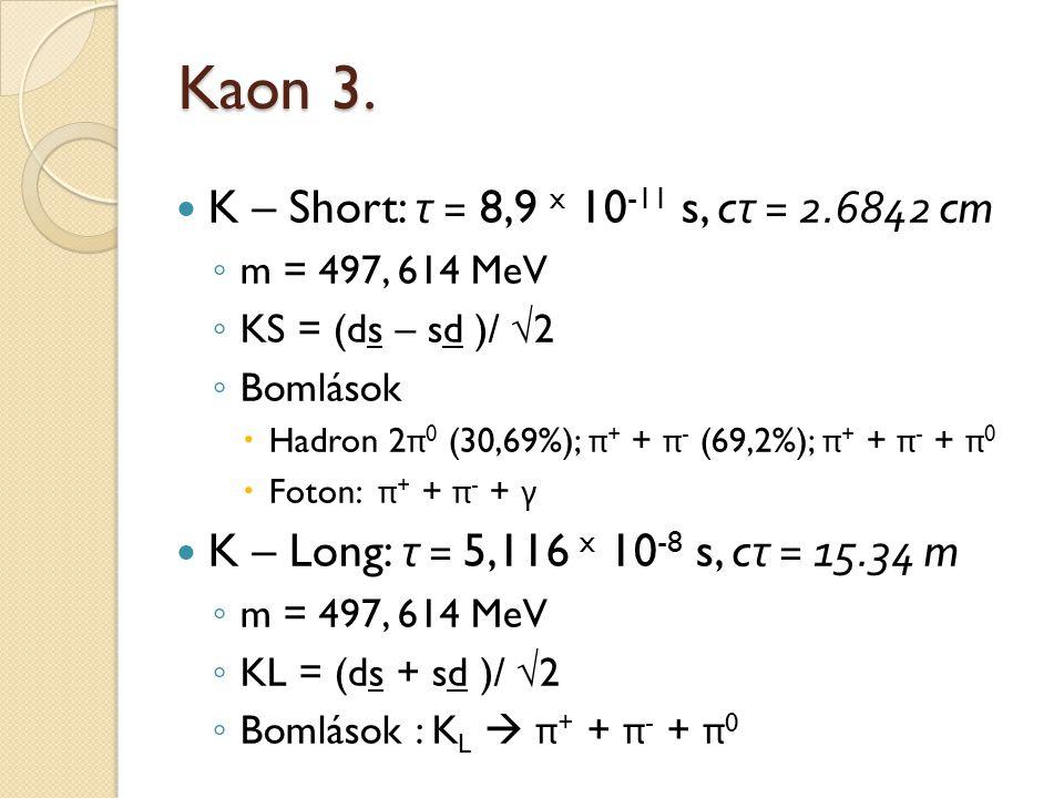 Kaon 3. K – Short: τ = 8,9 x 10-11 s, cτ = 2.6842 cm