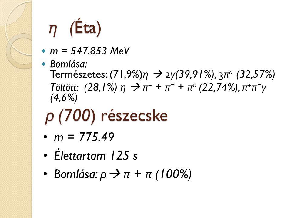 η (Éta) ρ (700) részecske m = 775.49 Élettartam 125 s