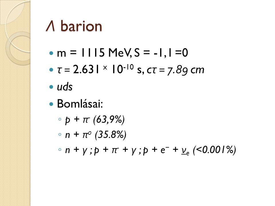 Λ barion m = 1115 MeV, S = -1, I =0 τ = 2.631 x 10-10 s, cτ = 7.89 cm
