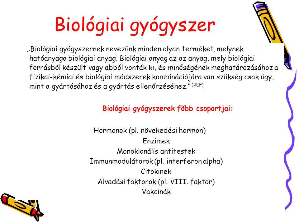 Biológiai gyógyszerek főbb csoportjai: