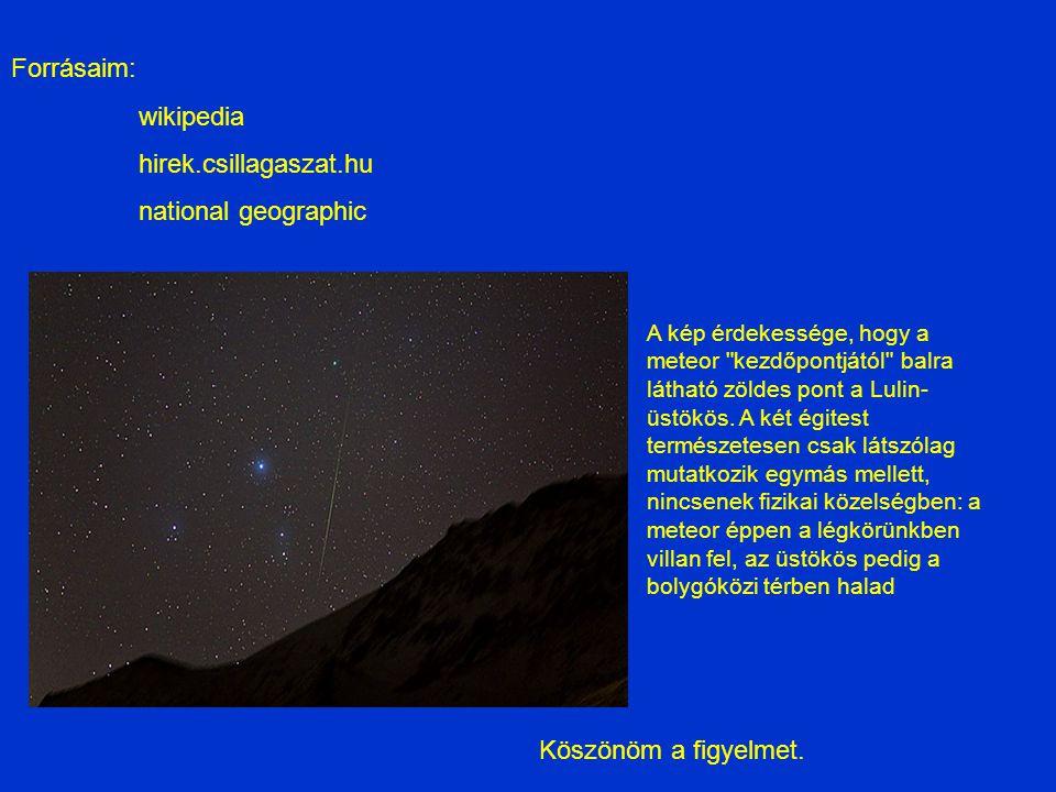 Forrásaim: wikipedia hirek.csillagaszat.hu national geographic