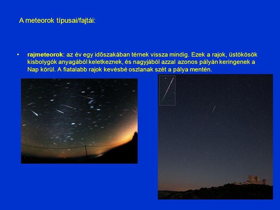 A meteorok típusai/fajtái:
