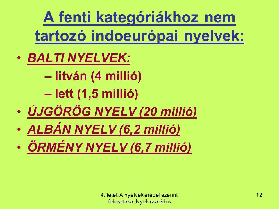 A fenti kategóriákhoz nem tartozó indoeurópai nyelvek: