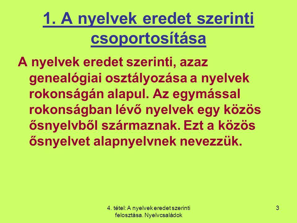 1. A nyelvek eredet szerinti csoportosítása