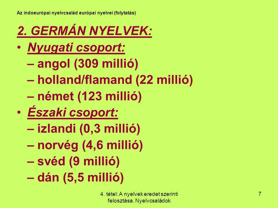 Az indoeurópai nyelvcsalád európai nyelvei (folytatás)