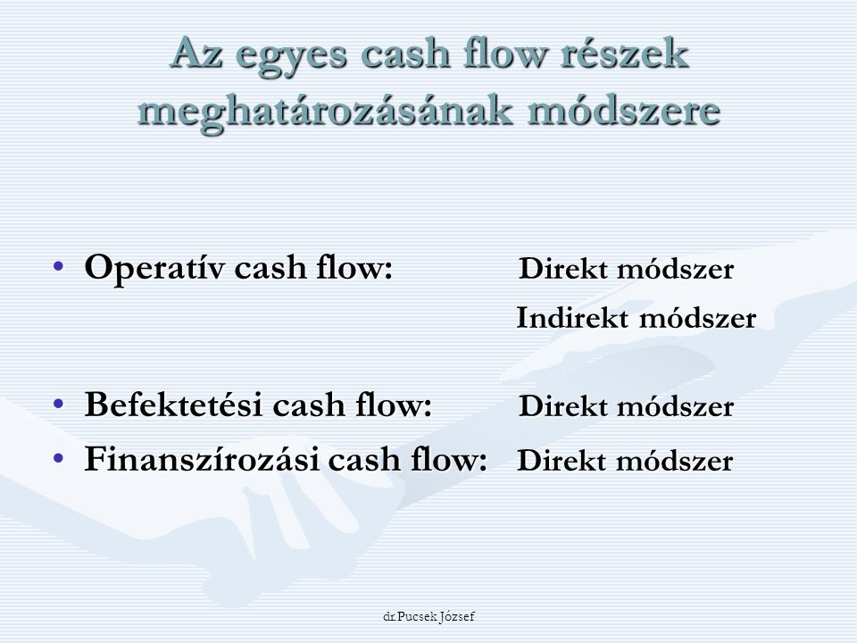 Az egyes cash flow részek meghatározásának módszere