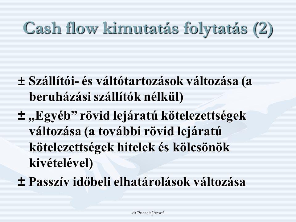 Cash flow kimutatás folytatás (2)
