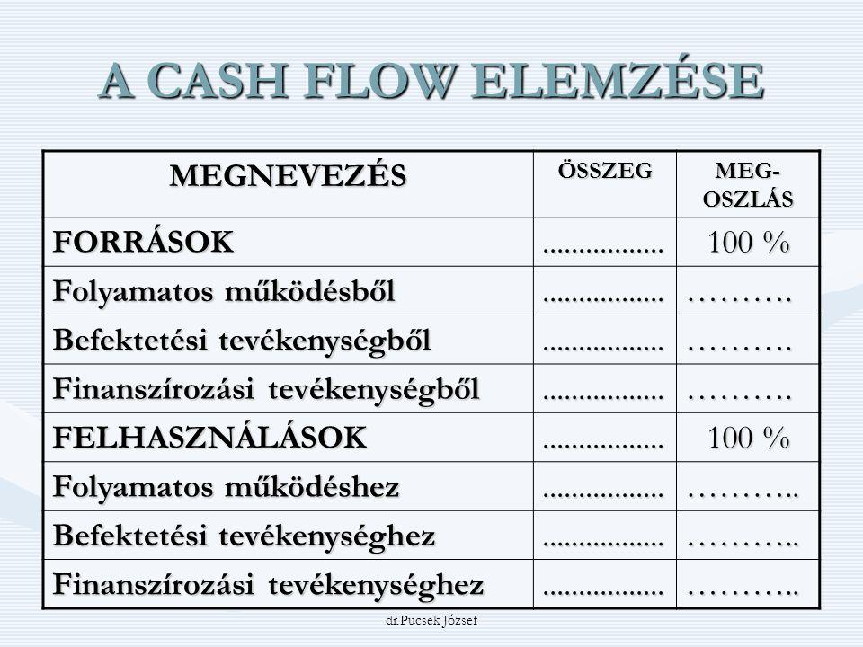 A CASH FLOW ELEMZÉSE MEGNEVEZÉS FORRÁSOK ................. 100 %