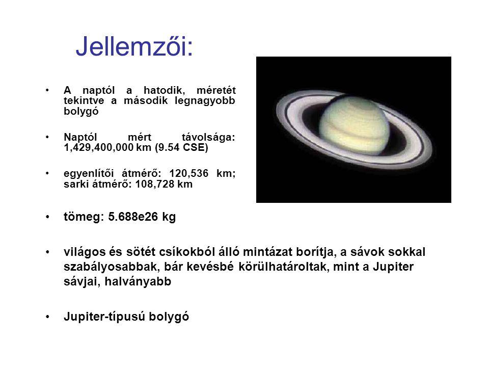 Jellemzői: A naptól a hatodik, méretét tekintve a második legnagyobb bolygó. Naptól mért távolsága: 1,429,400,000 km (9.54 CSE)