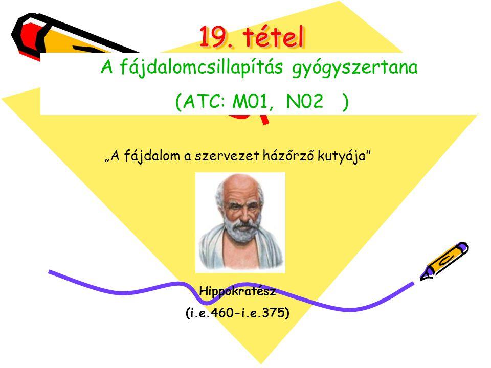 19. tétel A fájdalomcsillapítás gyógyszertana (ATC: M01, N02 )