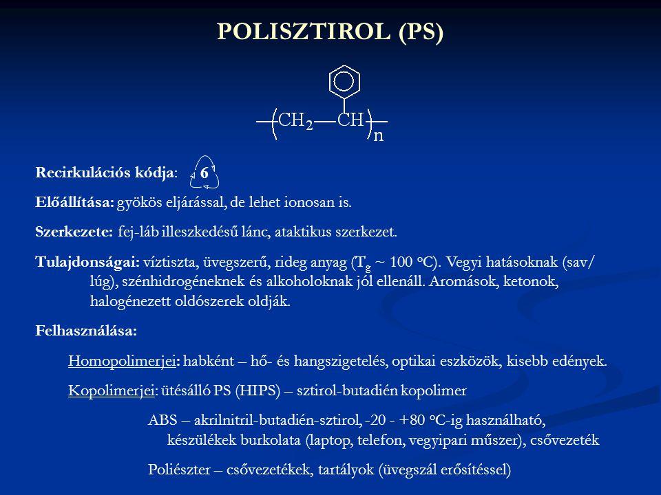 POLISZTIROL (PS) Recirkulációs kódja: 6