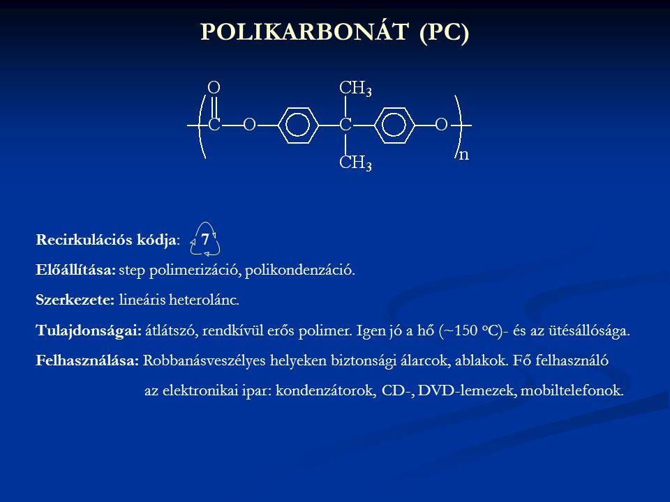 POLIKARBONÁT (PC) Recirkulációs kódja: 7