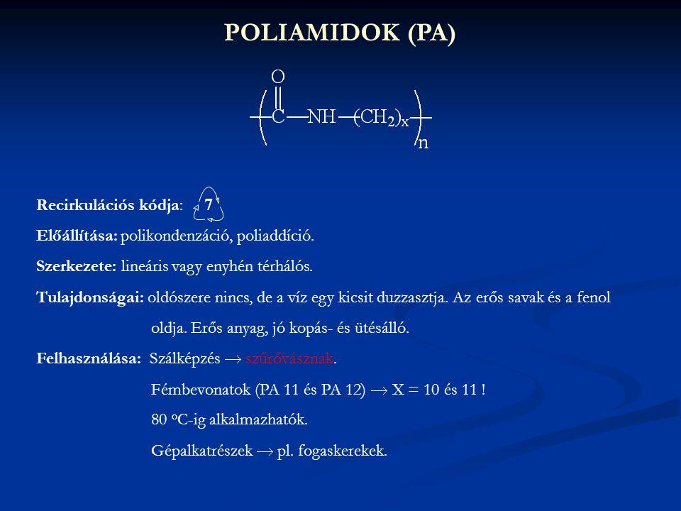 POLIAMIDOK (PA) Recirkulációs kódja: 7