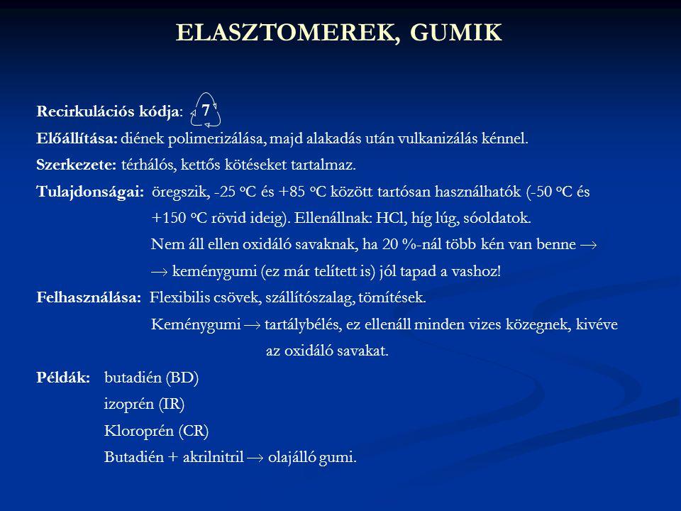 ELASZTOMEREK, GUMIK 7 Recirkulációs kódja:
