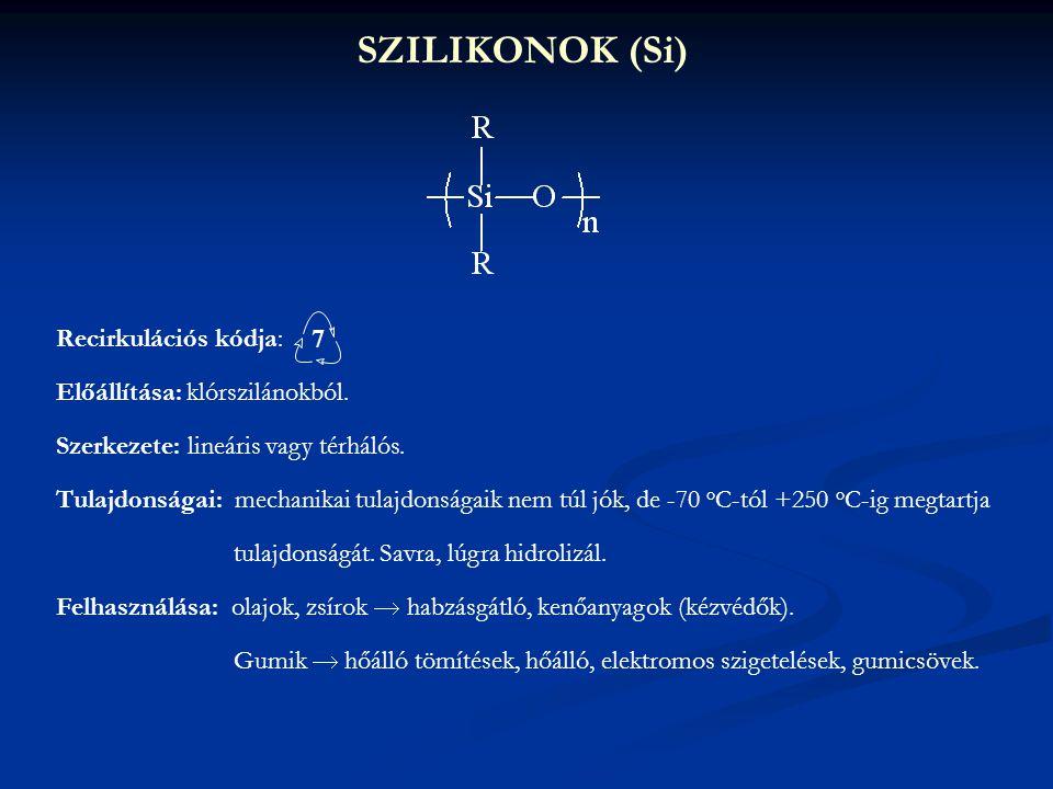 SZILIKONOK (Si) Recirkulációs kódja: 7 Előállítása: klórszilánokból.