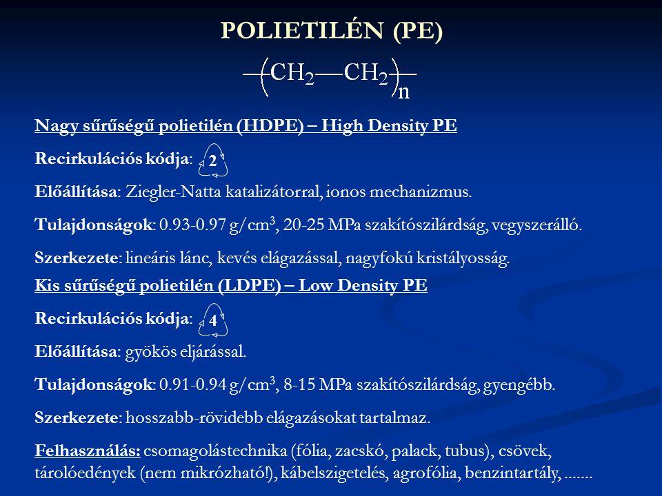 POLIETILÉN (PE) Nagy sűrűségű polietilén (HDPE) – High Density PE