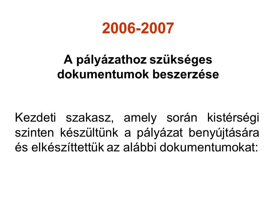 2006-2007 A pályázathoz szükséges dokumentumok beszerzése