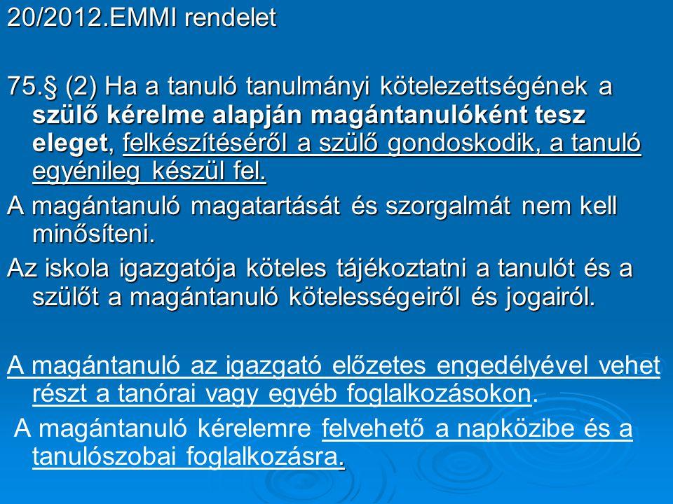 20/2012.EMMI rendelet