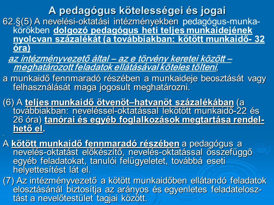 A pedagógus kötelességei és jogai