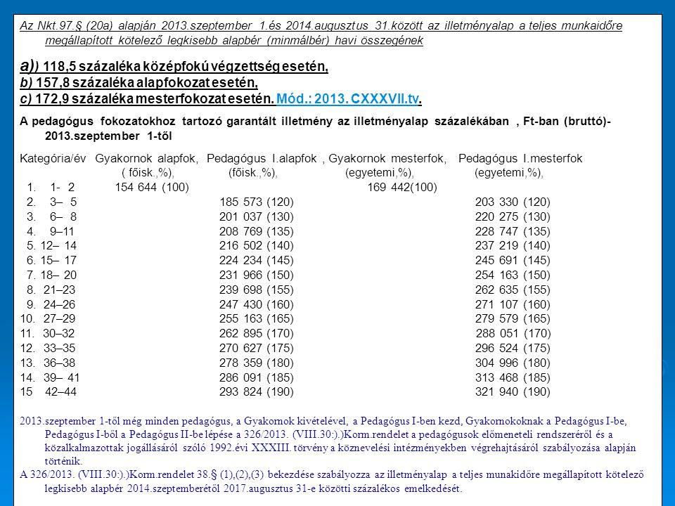 a)) 118,5 százaléka középfokú végzettség esetén,