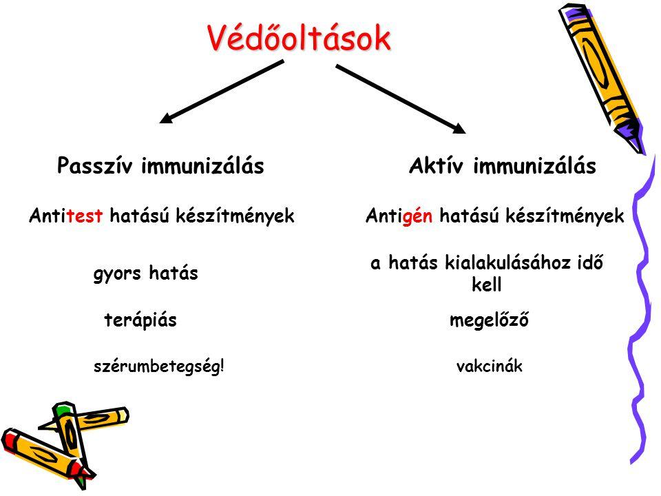 Védőoltások Passzív immunizálás Aktív immunizálás