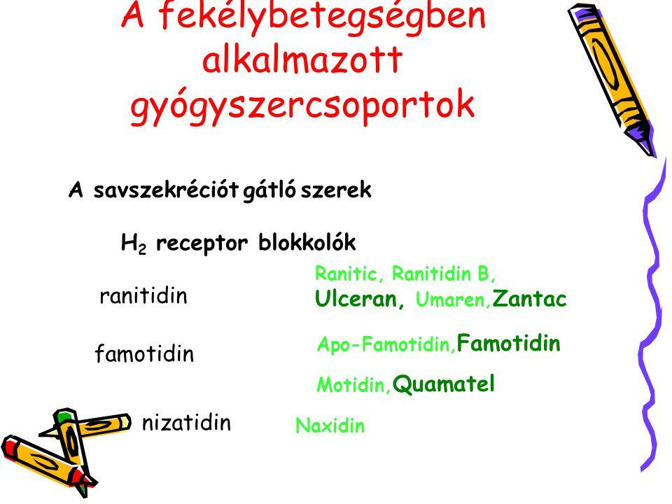 A fekélybetegségben alkalmazott gyógyszercsoportok