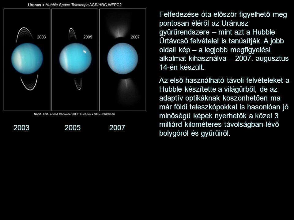 Felfedezése óta először figyelhető meg pontosan éléről az Uránusz gyűrűrendszere – mint azt a Hubble Űrtávcső felvételei is tanúsítják. A jobb oldali kép – a legjobb megfigyelési alkalmat kihasználva – 2007. augusztus 14-én készült.