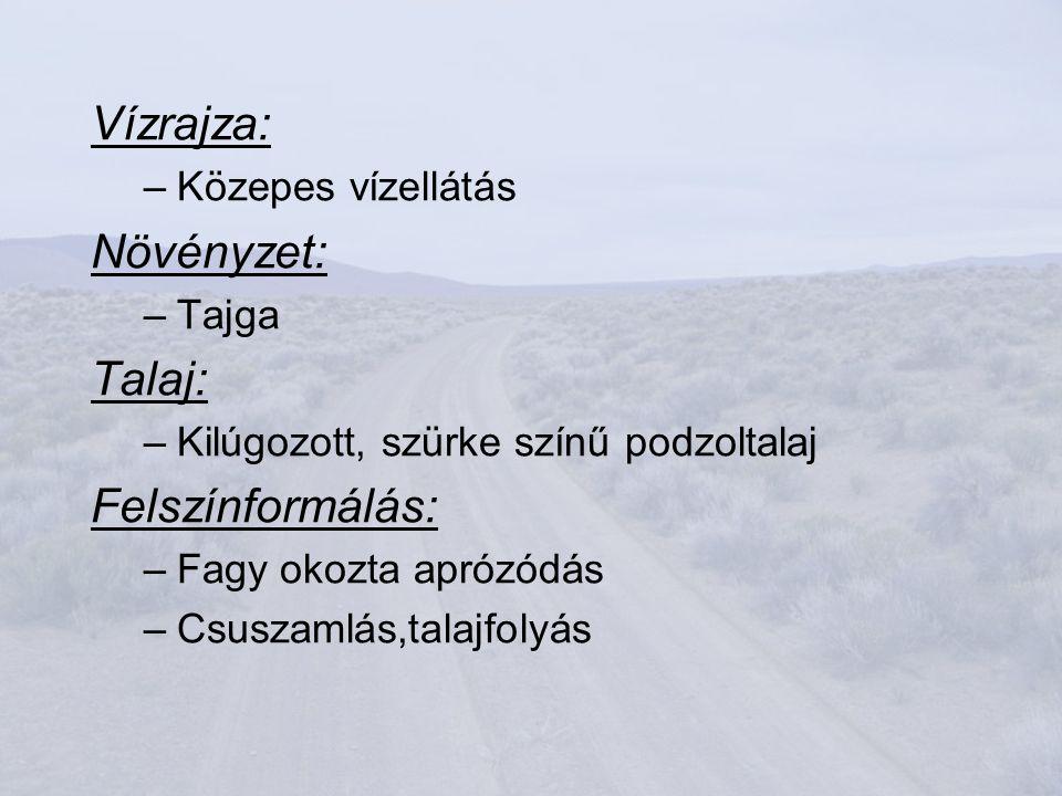 Vízrajza: Növényzet: Talaj: Felszínformálás: Közepes vízellátás Tajga