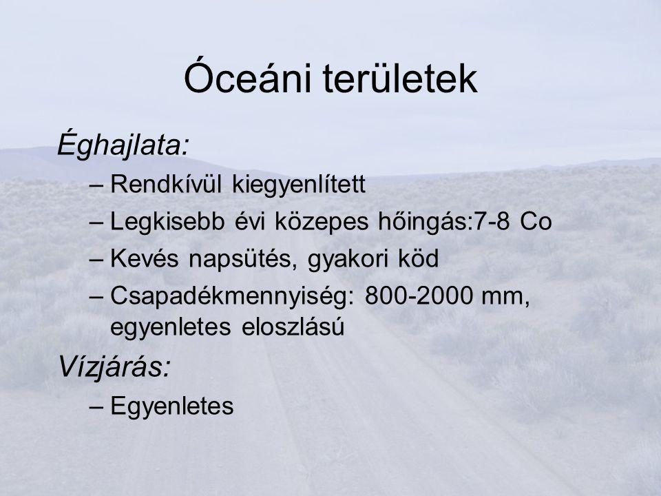 Óceáni területek Éghajlata: Vízjárás: Rendkívül kiegyenlített