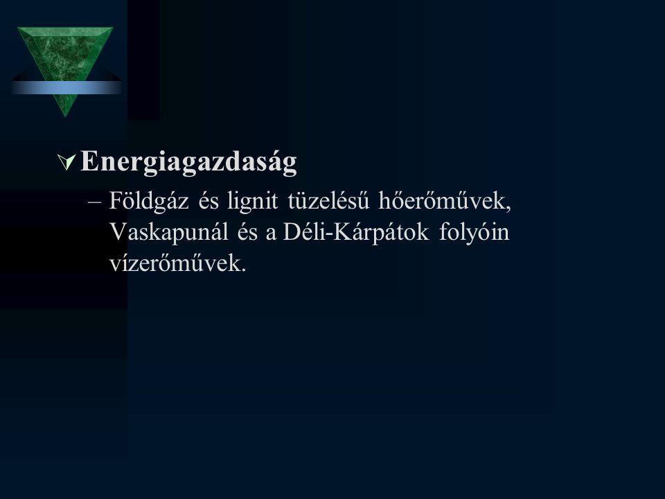 Energiagazdaság Földgáz és lignit tüzelésű hőerőművek, Vaskapunál és a Déli-Kárpátok folyóin vízerőművek.