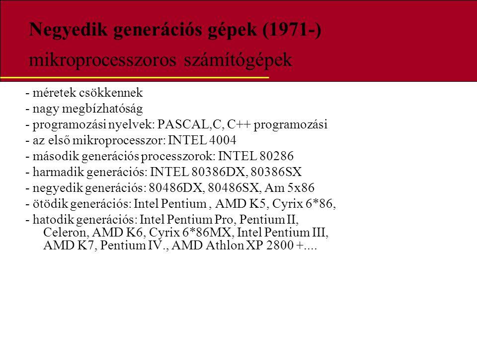 Negyedik generációs gépek (1971-) mikroprocesszoros számítógépek