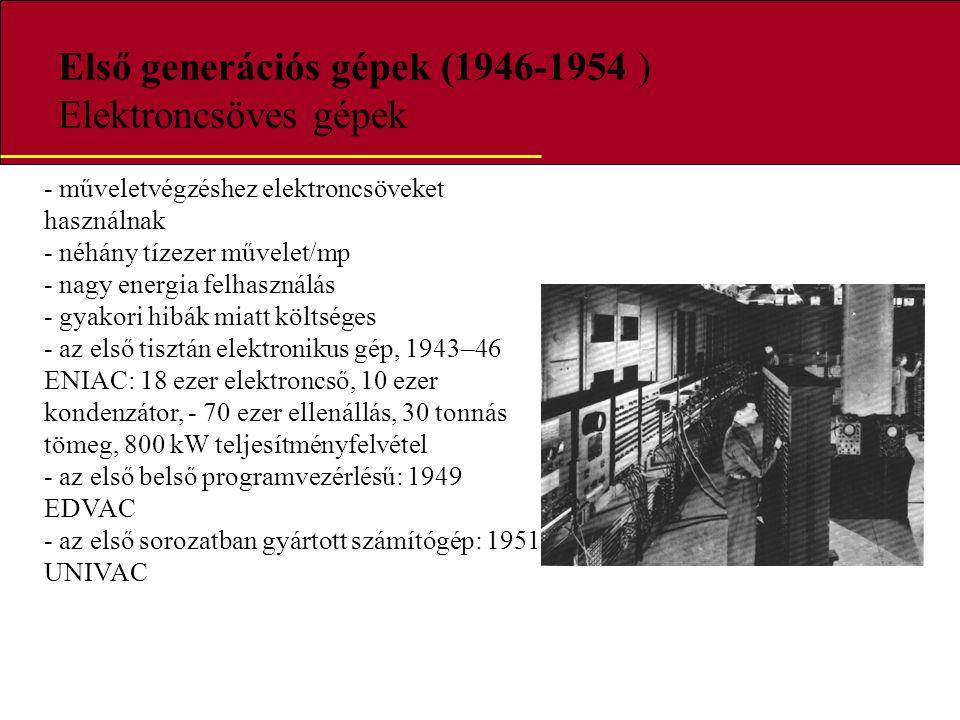 Első generációs gépek (1946-1954 ) Elektroncsöves gépek