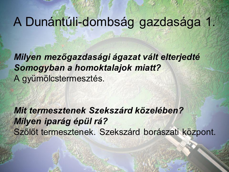 A Dunántúli-dombság gazdasága 1.