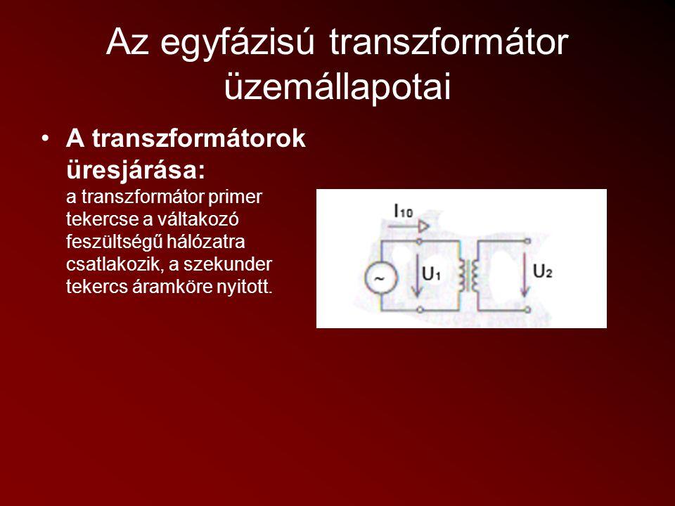 Az egyfázisú transzformátor üzemállapotai